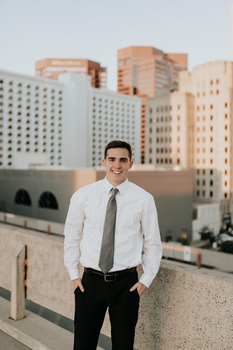 Megan Claire Photography | Phoenix Arizona Wedding and Engagement Photographer. Arizona State University male grad photoshoot. Male college Graduation photos in downtown phoenix, Arizona. City graduation photos