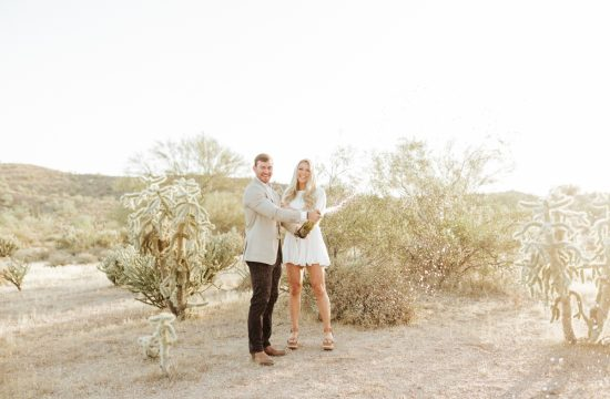 Megan Claire Photography | Arizona Desert Engagement Photos. Popping champagne @meganclairephoto Megan-claire.com